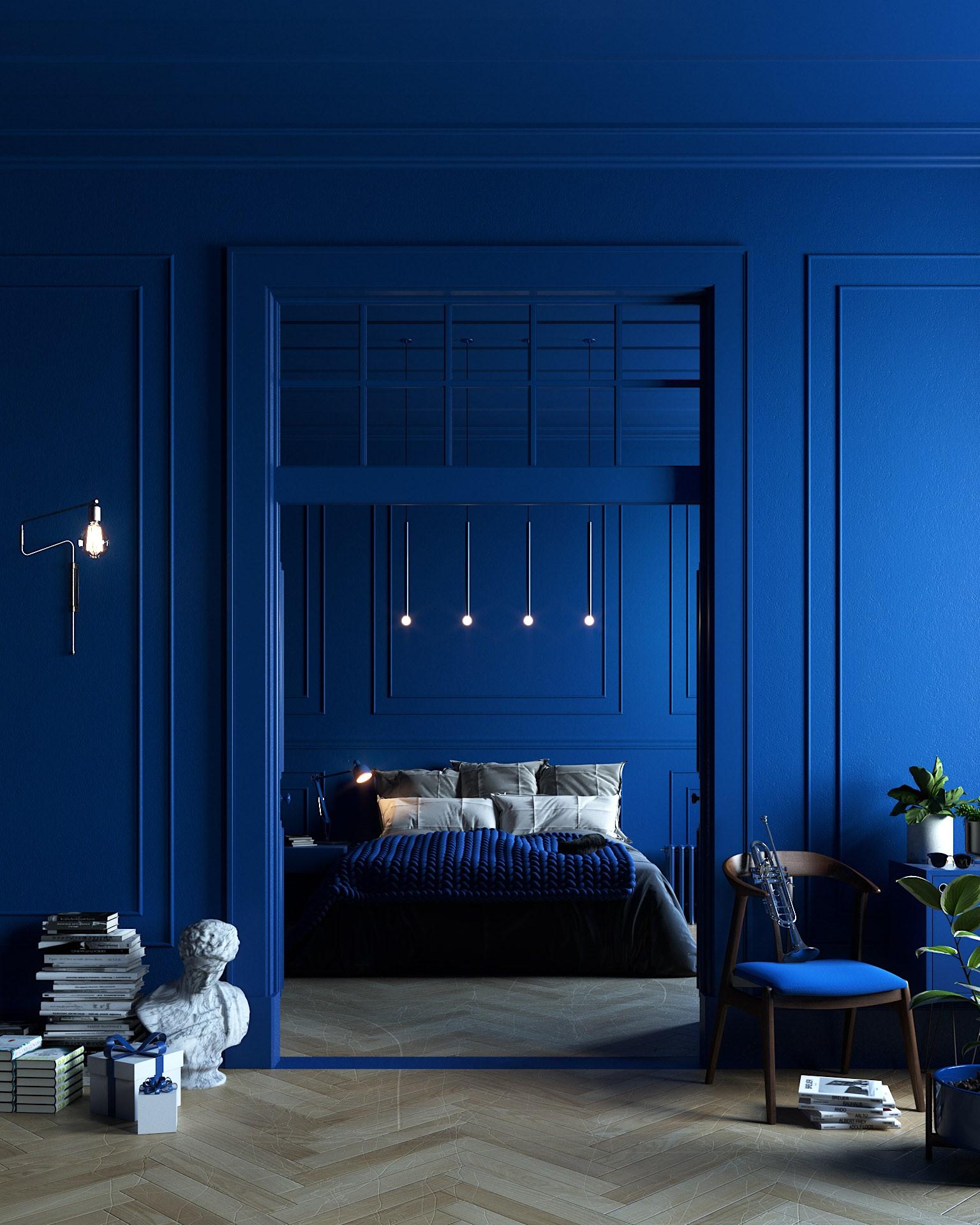 Modrá v interiéru. Ano nebo ne?
